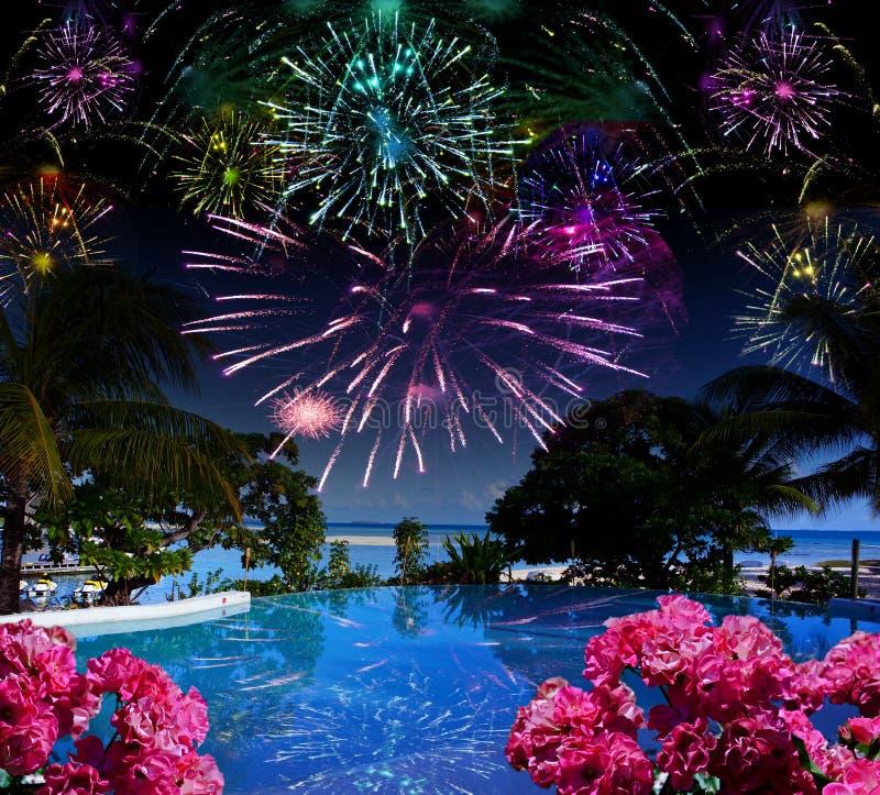在海和海滩的明亮的欢乐烟花 免版税库存图片