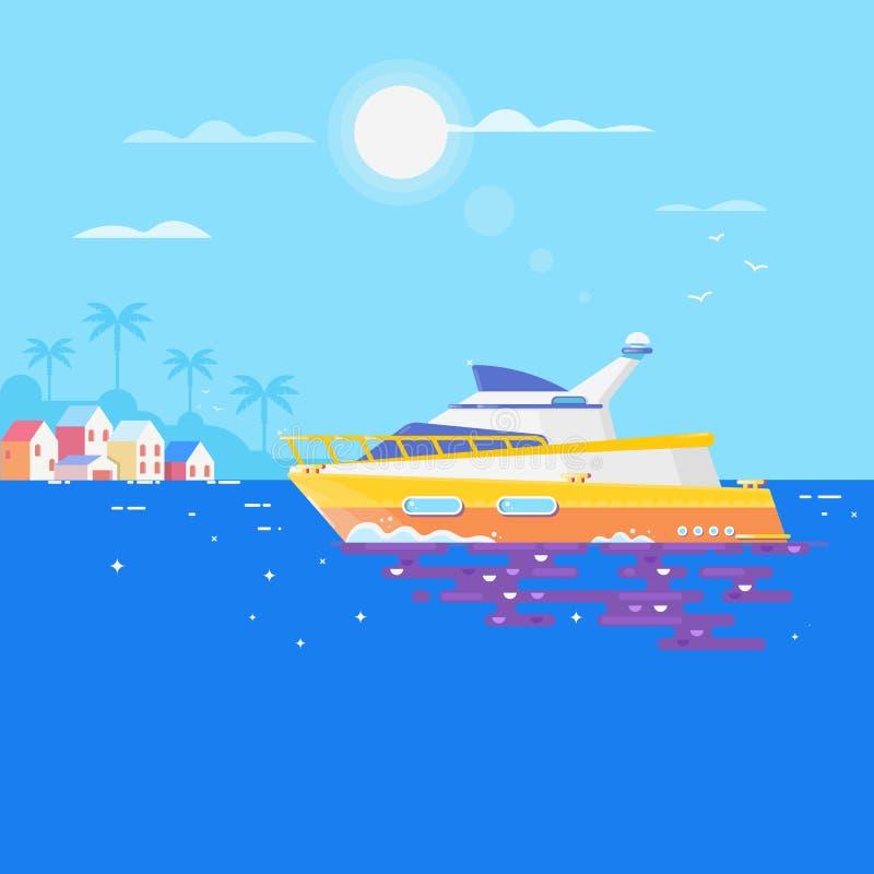 在海和海鸥的风船 豪华旅行海上航道海运游艇 平的传染媒介例证 皇族释放例证