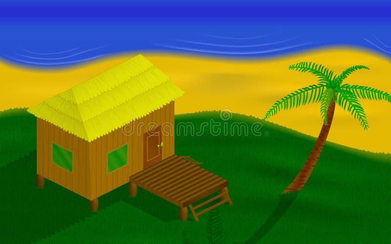 在海岛上的小屋 免版税库存照片