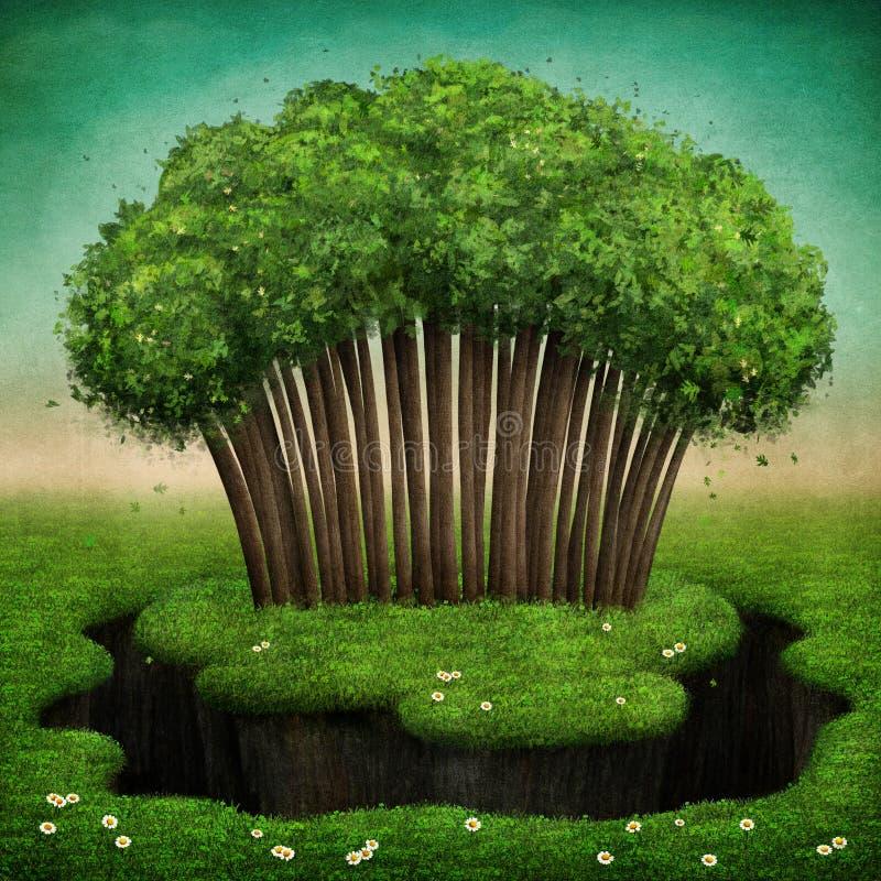 在海岛上的树丛 向量例证
