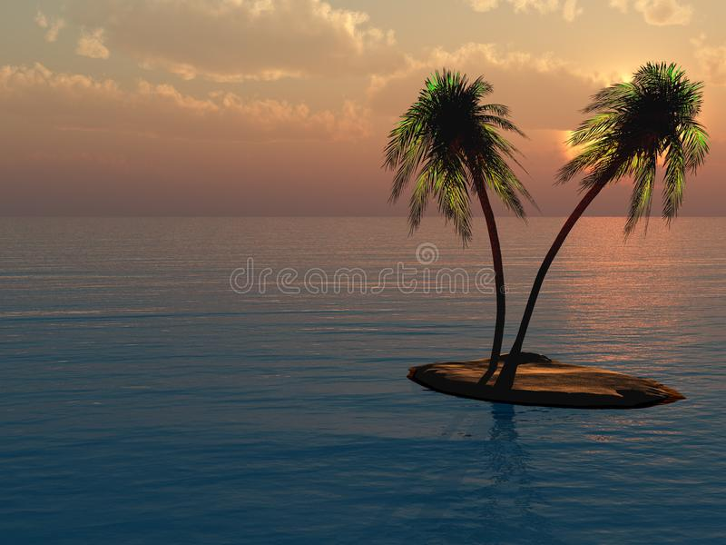 在海岛上的棕榈反对日落 向量例证