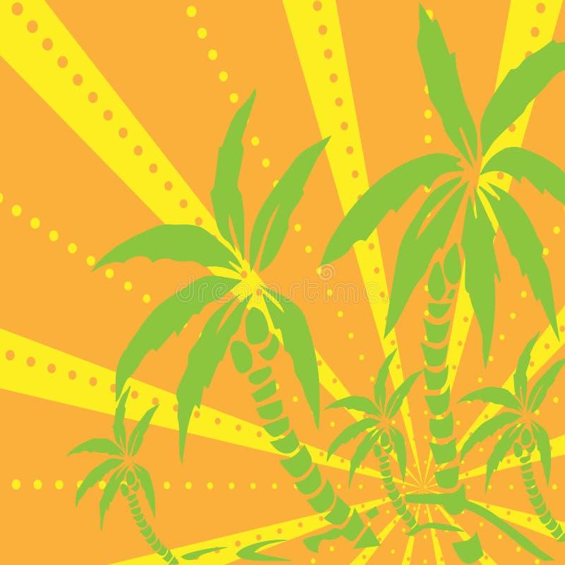 在海岛上的棕榈树剪影 也corel凹道例证向量 背景的热带异乎寻常的植物与光芒 现代行家样式服装, 向量例证