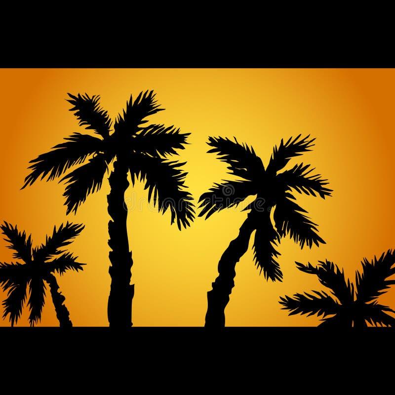 在海岛上的棕榈树剪影 在热带海滩日落,日出的暑假,与棕榈树 向量 库存例证
