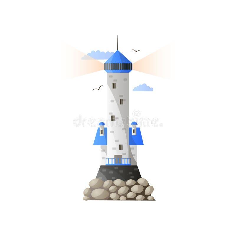 在海岛上的灯塔在与飞鸟的多云天空下 皇族释放例证