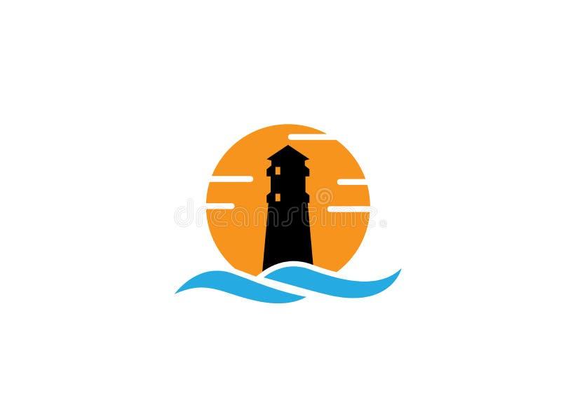 在海岛上的灯塔在有大太阳的海中间在商标设计例证的背景中日落标志 皇族释放例证