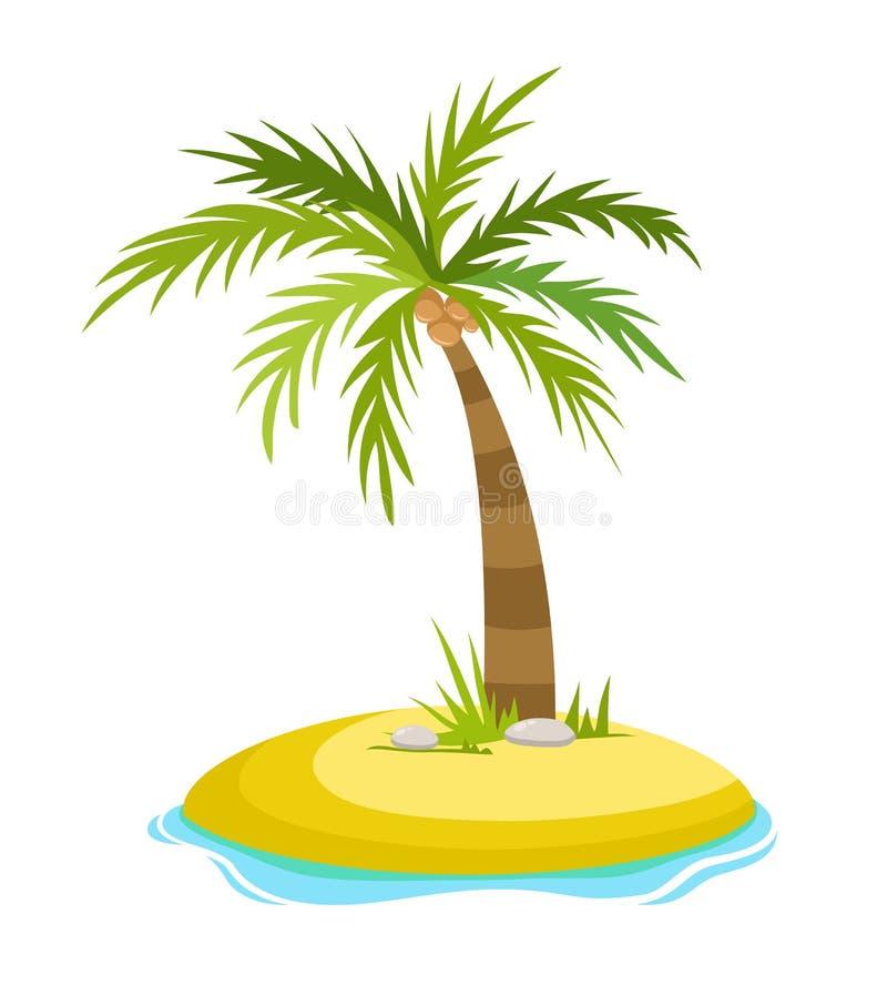 在海岛上的热带棕榈有海波向量例证的隔绝了白色背景 海滩在棕榈树下 夏天 向量例证