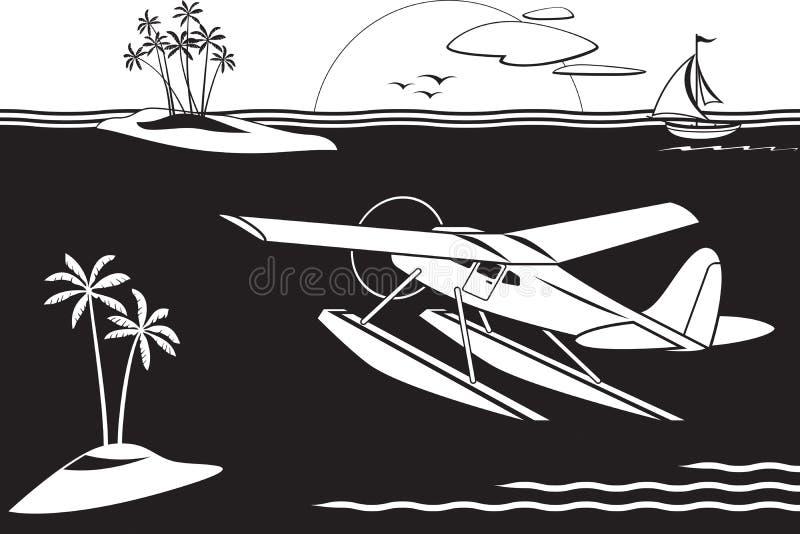 在海岛中的水上飞机飞行在海 皇族释放例证