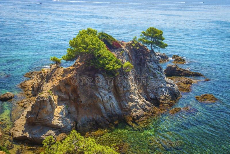 在海岛岩石的鸟瞰图与绿色树在地中海 蓝色海西班牙海岸线在晴朗的夏日 库存照片