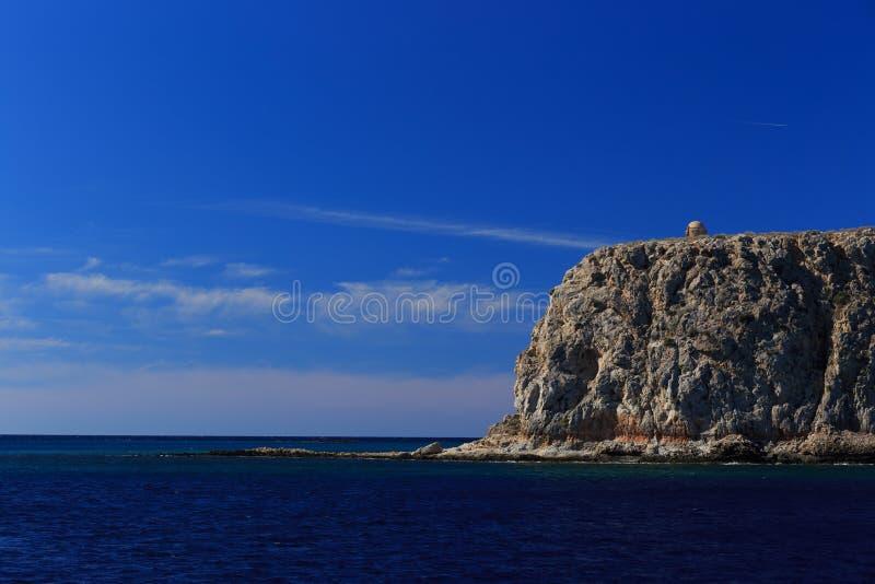 在海岛格拉姆武萨群岛,希腊上的威尼斯式堡垒 库存照片