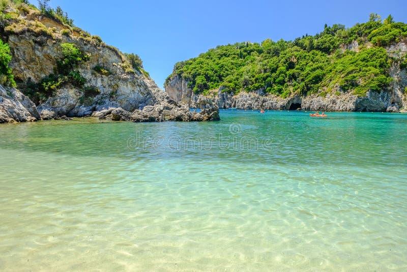 在海岛科孚岛,希腊上的海滩Paleokastritsa 库存照片