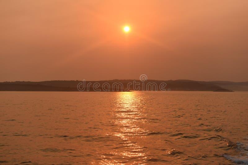 在海岛Korcula,克罗地亚上的日出 库存图片