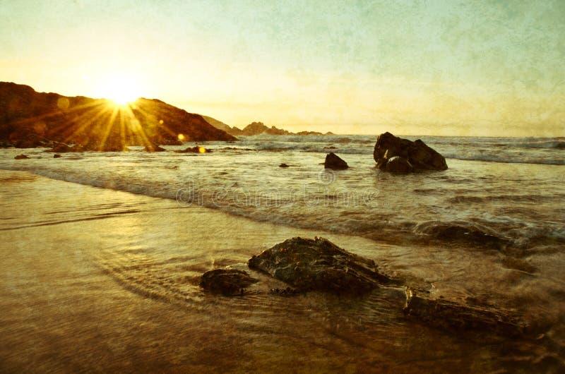 在海岸的日落 图库摄影