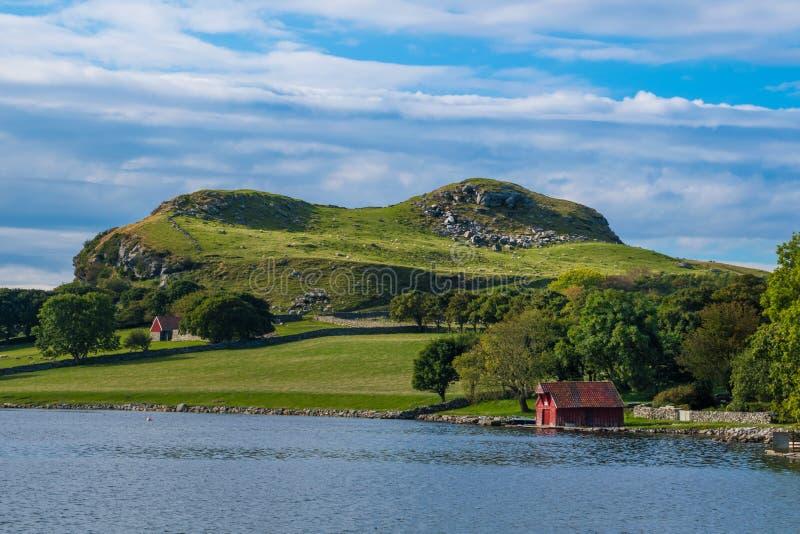 在海岸的红色客舱绿色风景挪威 库存图片
