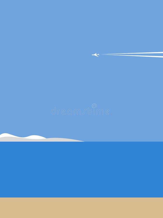 在海岸的飞机 向量例证