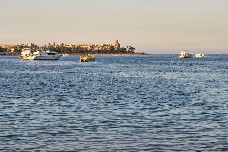 在海岸线的美丽的景色在红海 埃及,非洲 U 免版税库存图片