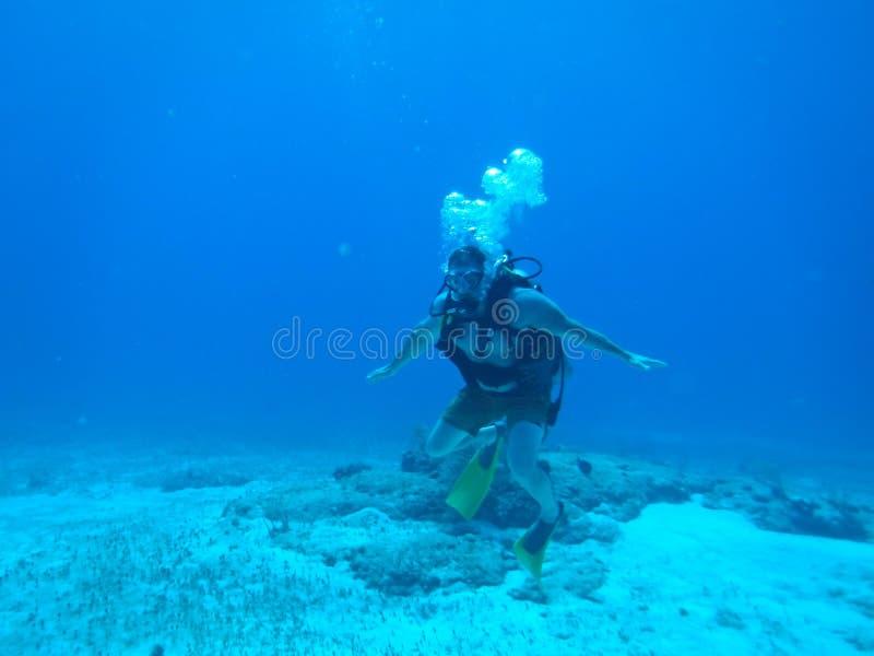 在海底上的轻潜水员在加勒比 免版税图库摄影