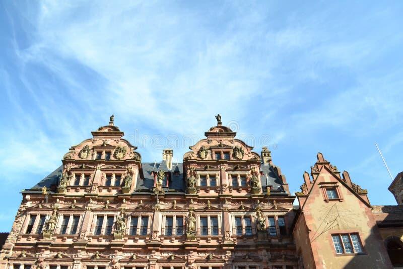 在海得尔堡城堡上的蓝天 库存图片
