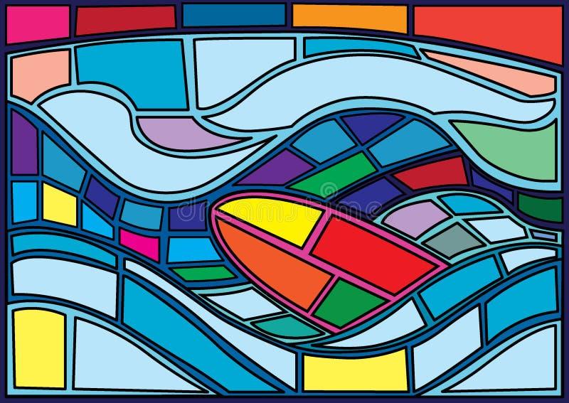 在海摩西彩色玻璃的冲浪板 向量例证