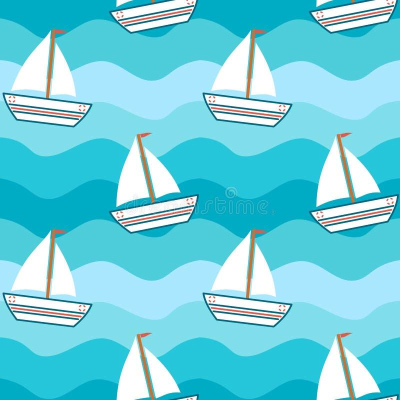 在海无缝的样式背景例证的动画片逗人喜爱的可爱的小船 皇族释放例证