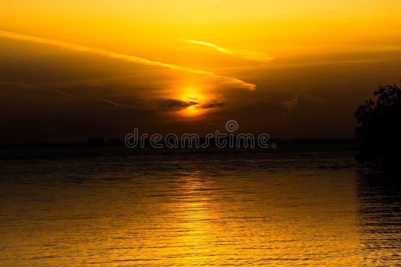 在海晚上海景的金黄日落 免版税库存照片