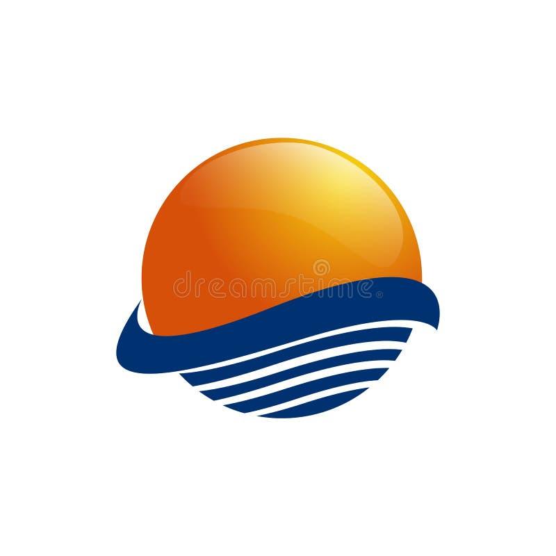在海波浪的太阳 太阳和海运 太阳在白色背景隔绝的商标象 编辑可能的向量例证 库存例证