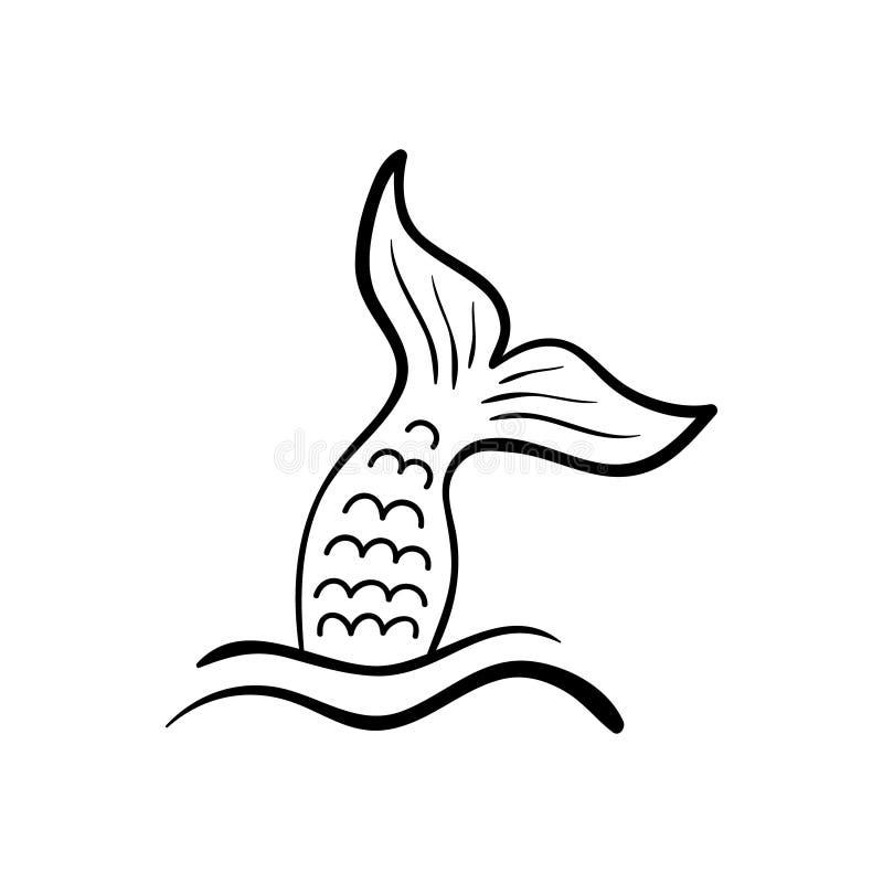 在海波浪的美人鱼尾巴 库存例证