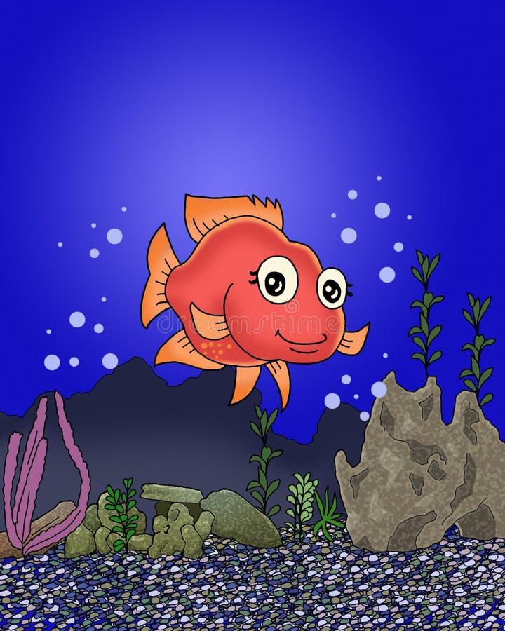 在海洋动画片的底部的逗人喜爱的愉快的鱼 向量例证