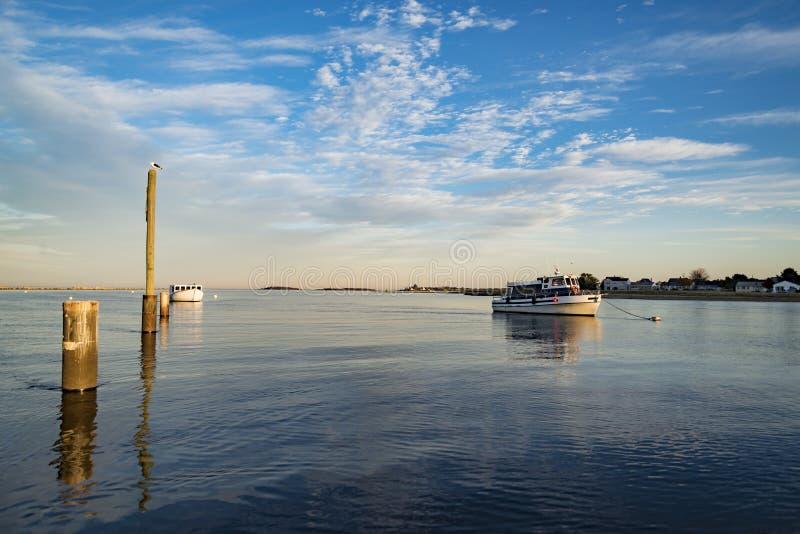 在海洋海岸的小船在缅因美国 图库摄影