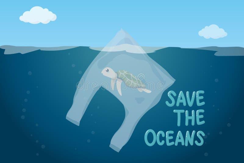 在海洋环境问题概念的塑料污染 在漂浮在海洋的塑料袋里面的恶劣的乌龟游泳 皇族释放例证