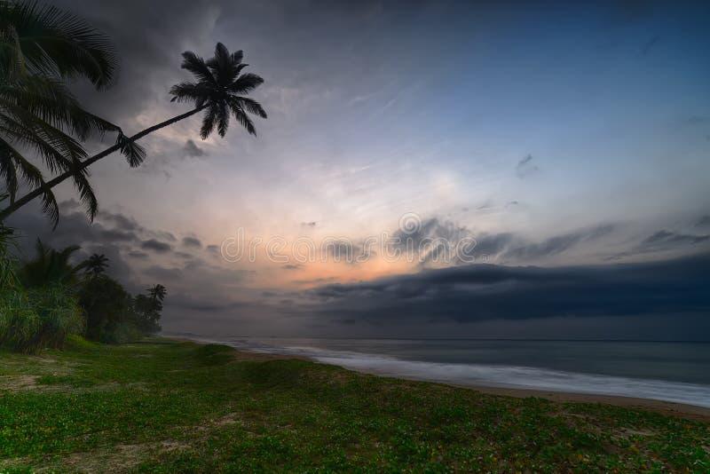 在海洋的夜间天空 免版税库存照片
