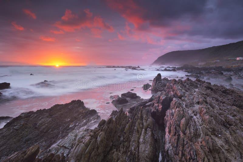 在海洋的日落庭院路线的NP,南非 图库摄影