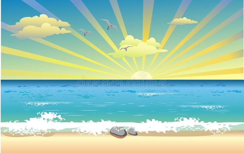 在海洋的风景日出 库存例证