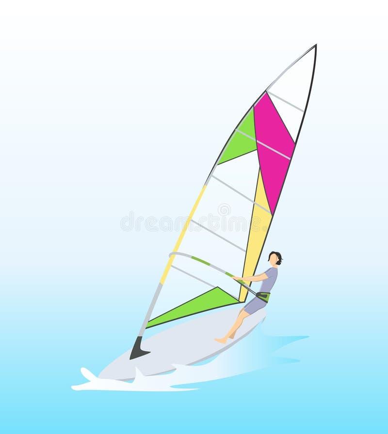 在海洋风帆冲浪 向量例证
