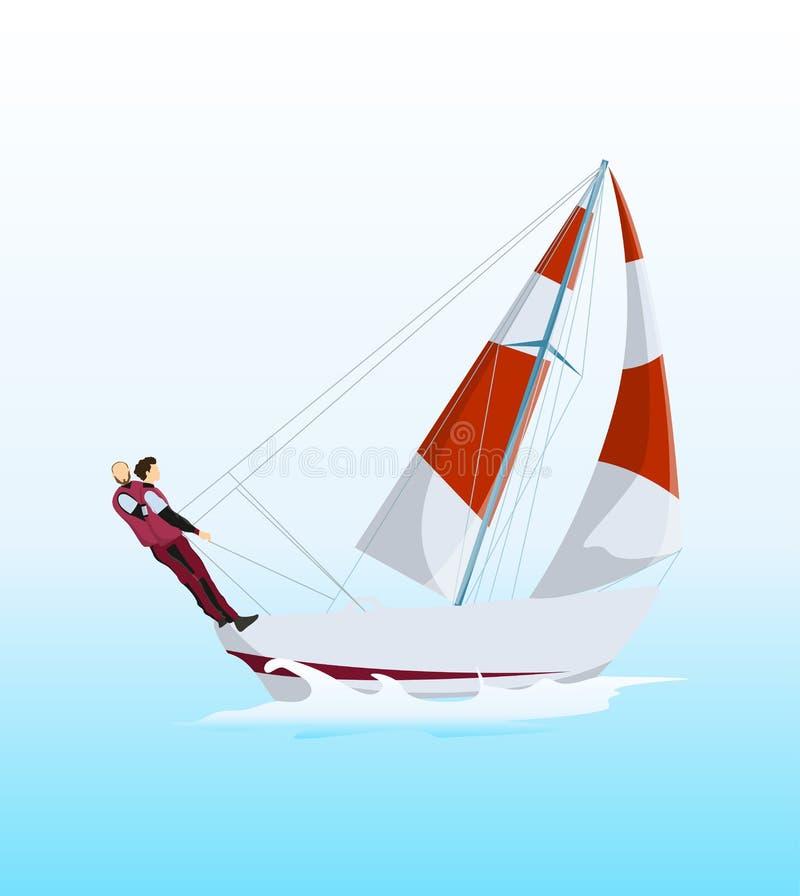 在海洋风帆冲浪 库存例证