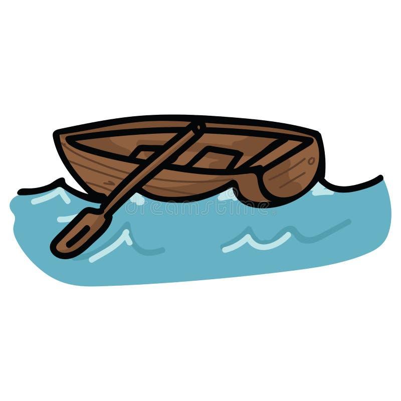 在海浪动画片传染媒介例证主题集合的逗人喜爱的帆船 手拉的被隔绝的船舶元素clipart为 库存例证