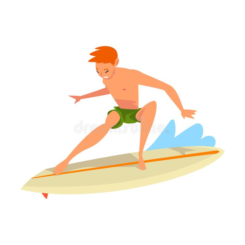 在海浪,男性冲浪者字符的人骑马简而言之与冲浪板的,消遣海滩水上运动,人享用 皇族释放例证
