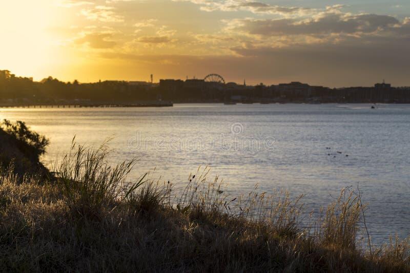 在海湾吉朗,澳大利亚的金黄日落 库存图片