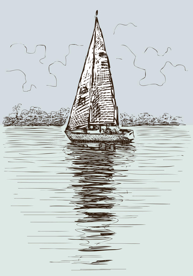 在海湾的帆船 向量例证