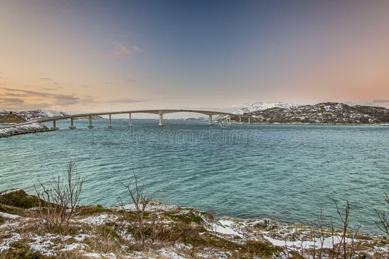 在海湾的桥梁在挪威 库存图片