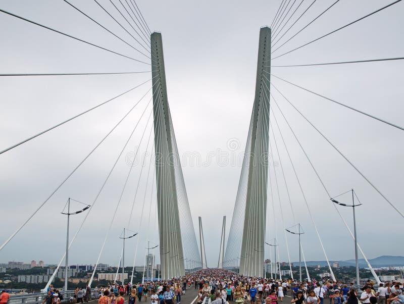在海湾金黄垫铁间的桥梁。 免版税库存图片