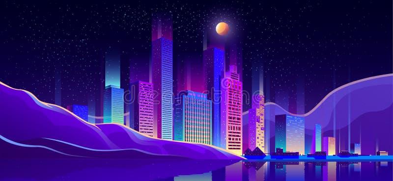 在海滨动画片传染媒介的现代城市大厦 库存例证