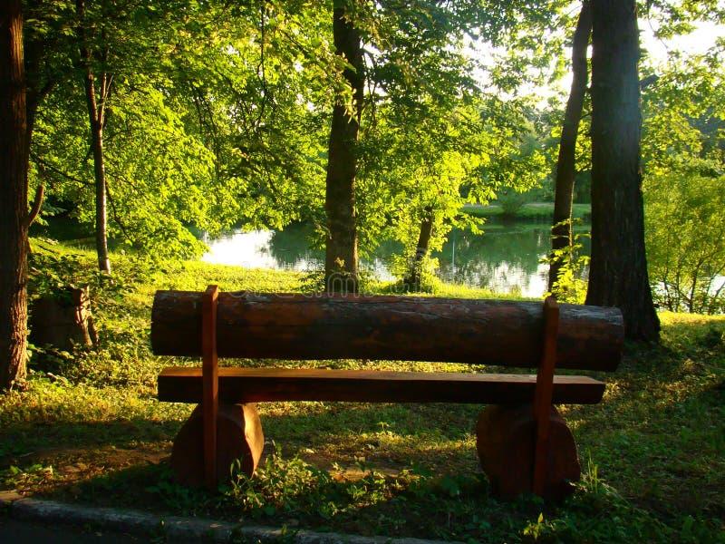 在海滨的一个被日光照射了长木凳 库存照片