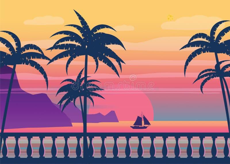 在海滨的热带日出,与棕榈的海风景,堤防,栏杆的支, minimalistic例证 海景 皇族释放例证