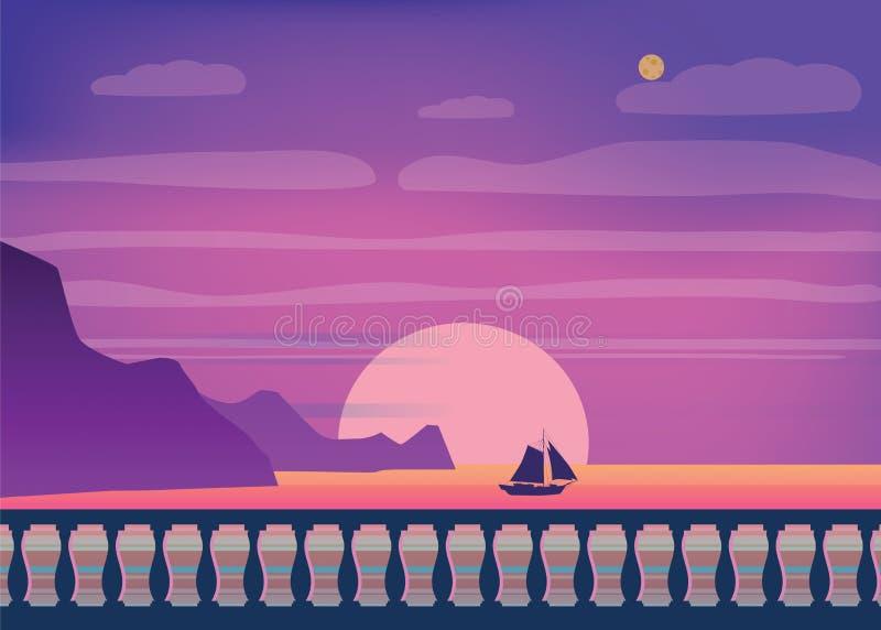在海滨的热带日出,海风景,堤防,栏杆的支, minimalistic例证 海景日出或 向量例证