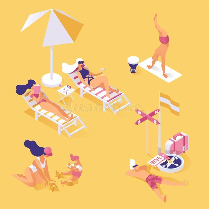 在海滨等量例证的暑假 享受夏令时假日,放松和小睡在含沙的人们 向量例证