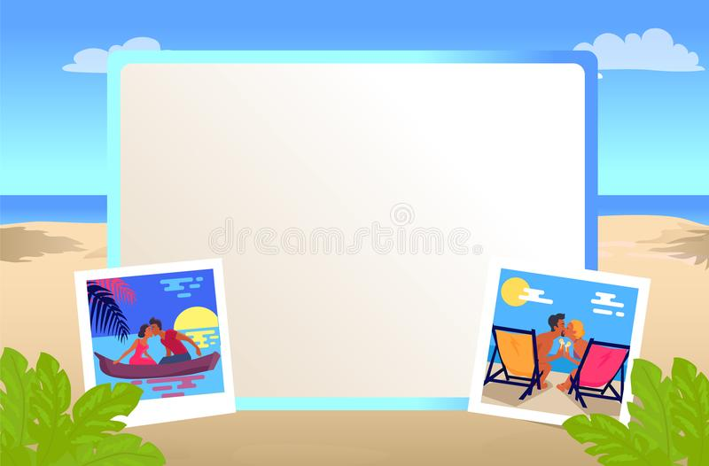 在海滩亲吻与夫妇的照片框架 皇族释放例证