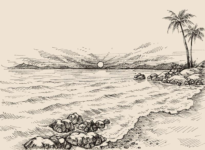 在海滩图画的日出 向量例证