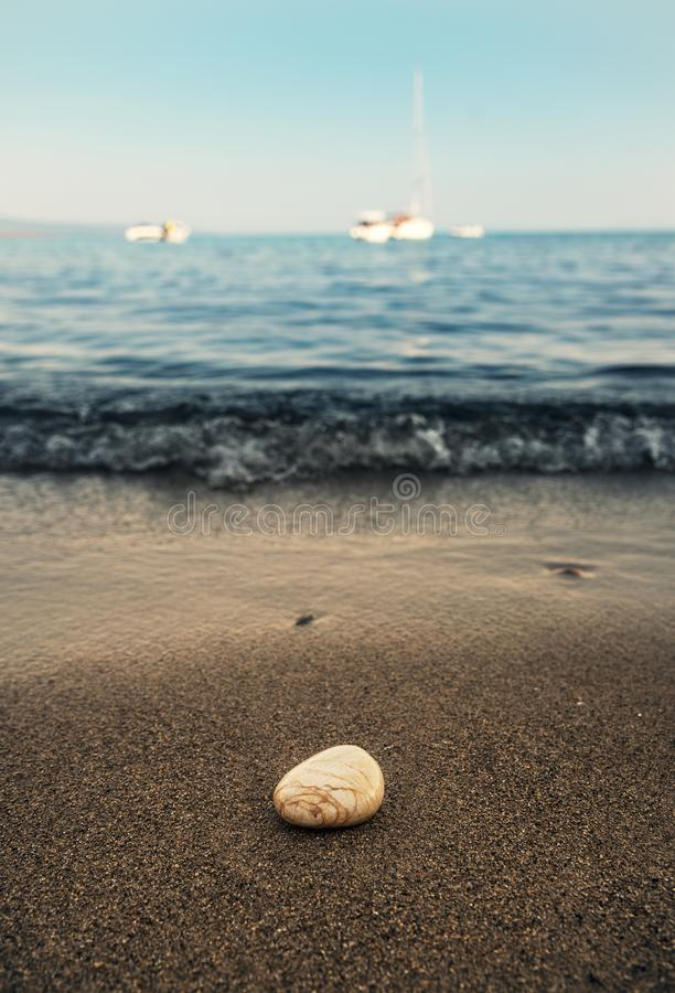 在海滩的一块石头 库存照片