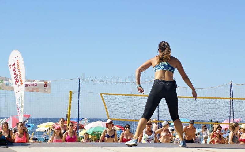 在海滩的体育是人民的伟大的乐趣 库存图片
