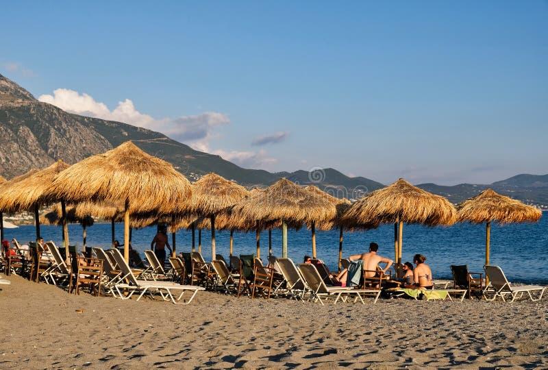 在海滩的夏天晚上,卡拉迈,伯罗奔尼撒,希腊 库存图片